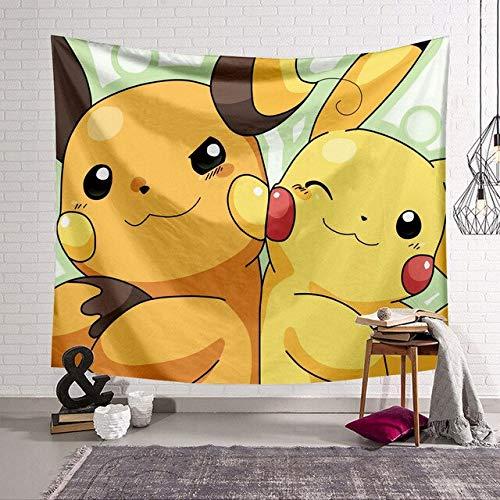 PEKSLA Tapisserie Mignonne Pikachu Pokemon Impression 3D 150cmx130cm, Mandala Tentures Murales Indiennes/Doré Tapisserie Mandala Hippie/Psychedelique