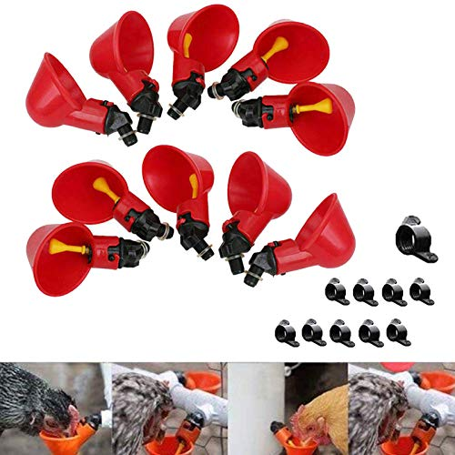 JIMENG 10 PCS Chicken Waterer Fully Automatic Poultry Drinking Machine Chicken Water...