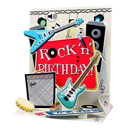 PopShots Studios Sound Pop Up 3D Karte Geburtstag Musik Rock`n Roll Gitarre 18x13cm