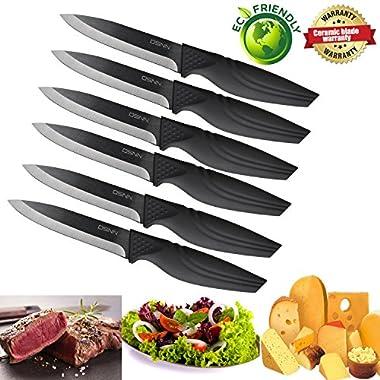 Steak knives set of 6, DSNN Ceramic Knife Steak Sharp Knives Black Blade Knife Best Gift Fantastic
