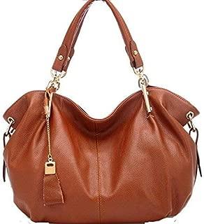 Fine Bag/Handbag Retro Leather Shoulder Bag Fashion Lady Messenger Bag Simple Scratch-Resistant Large Capacity Bag Multi-Pocket Capacity (Color : Camel, Size : One Size)