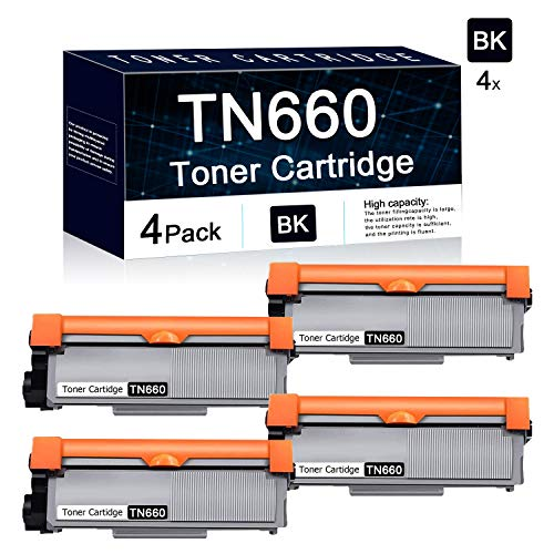 Compatible 4 Pack Black TN660 High Yield Toner Cartridge Used for Brother HL-L2300D HL-L2305W HL-L2315DW HL-L2320D;Brother MFC-L2680W MFC-L2685DW MFC-L2740DW; Brother DCP-L2520DW DCP-L2540DW Printers. -  TbToner, TN660-4PK
