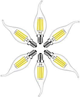 Bombillas Vela de Filamento LED E14, RANBOO, 4W equivalente a 40W, 400 lúmenes, Blanco Frío 6500K, Bombilla Decorativas, No Regulable, 6 unidades