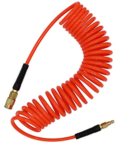 YOTOO Polyurethane Recoil Air Hose 1/4 in by 25 ft with Bend Restrictor, 1/4 Industrial Quick Coupler and Plug, Red