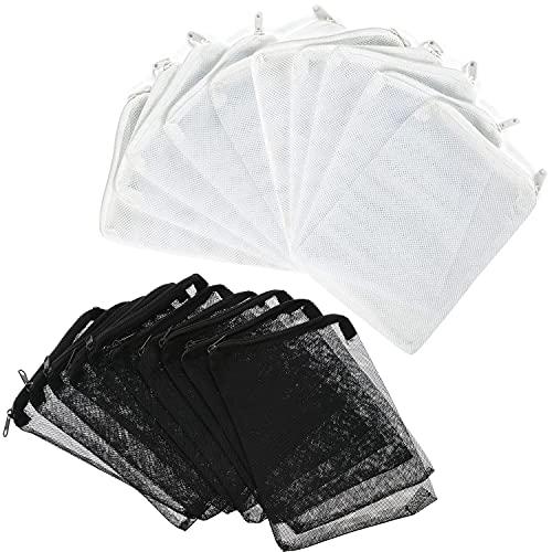 LABOTA 20 bolsas de filtro de acuario, medios, malla de filtro, bolsas de red para peceras con cremallera para carbón activado, biosferas, anillos de cerámica, etc. (blanco y negro)