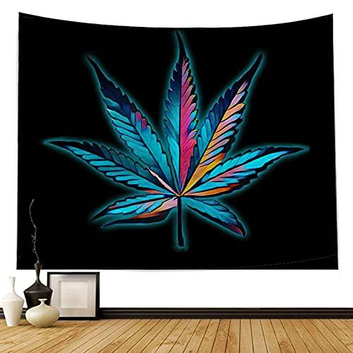 QSCV Psicodélico Hoja De Cannabis Tapiz De Pared,Paisajes Trippy Tapices Marihuana Paisajes Hoja Púrpura Negro Tapices Arte para Mantel Universidad Hogar Decorativo-Tela 6 150x100cm