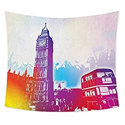 jecycleus London Grateful Dead Tapestry Historical Big Ben and Bus Great Bell Clock Tower UK Europe Street Landmark Wall Decor for Bedroom Tapestry W80 x L60 Inch Purple Red Yellow