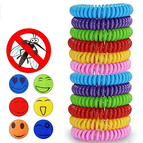Pulsera Repelente de Mosquitos, 15pcs Pulseras Antimosquitos & 30 Pegatinas Antimosquitos, para bebés niños y adultos