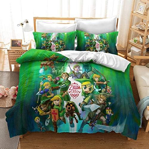 Wdbridal The Legend of Zelda Bedding Set Full Size Gaming 3D Print Green Duvet Cover Sets for product image