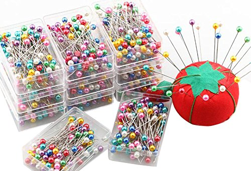 100PCS (1 Box) Round Pearl Head Decorative Straight Pins Straight Head Pins Dressmaking Dressmaker Pins Corsage Florists Sewing Pin DIY Hand Pins (Multi-Coloured)
