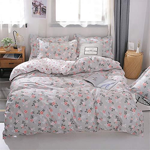 zpbzambm Bettwäsche (4 Teile/Set - Geeignet Für 1.2 Meter Breites Bett) Bettbezug X1+Bettlaken X1+Kissenbezug X2-100% Aloe Vera Baumwolle - Angenehm Weich 3D-Druck Blühende Blume