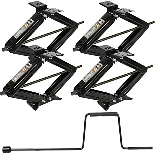 WEIZE RV Trailer Camper Stabilizer Leveling Scissor Jacks with Handle-24-7500lbs - Set of 4