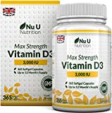 Vitamin D3 3,000 IU 365 Softgels (Full Year Supply) Triple Strength Vitamin D3 Supplement, High Absorption Cholecalciferol, Gluten & Dairy Free by Nu U Nutrition by Nu U Nutrition