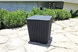 Centurion Supports CORTEZ in Black Rattan Wicker Design 43 Litre Side Table/Seat/Storage Box for Garden, Patio, Balcony or Terrace