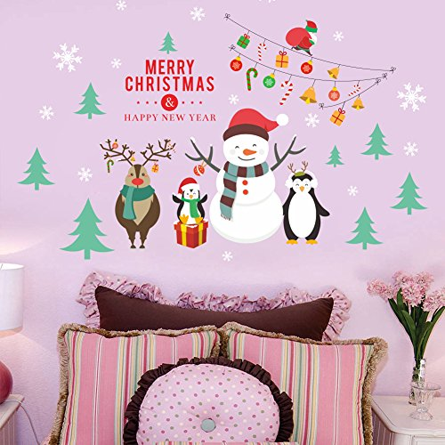 Christmas Wall Stickers,Xmas Window Clings Holiday Decorations,Snowflake Snowman Reindeer Penguin Christmas Tree Window Stickers,DIY Wall Window Door Mural Decal for Showcase Kid's Living Room Bedroom