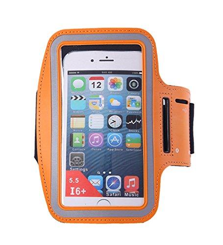 Bigood Sac de Bras Course à Pied Sport Extérieur Running Smartphont Bracelet Orange 5.5inch