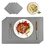 CHONLY Tischsets PU Kunstleder 4er Sets Abwischbare Wasserdicht Hellgrau Platzsets Lederoptik 45x30cm und Glasuntersetzer für Hause Küche Restaurant und Hotel