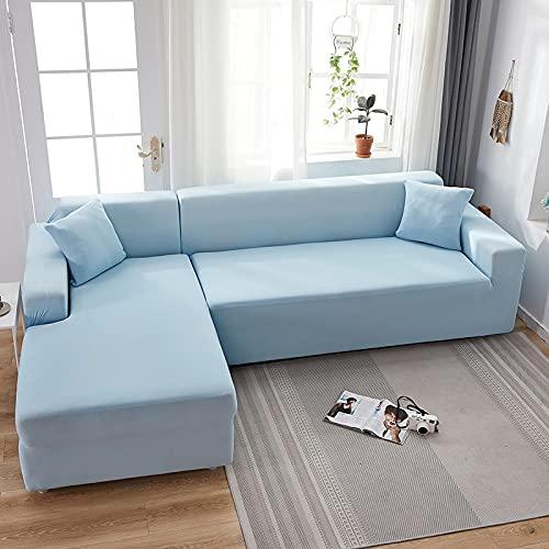 WXQY Fundas de Color Liso Funda de sofá elástica elástica Funda de sofá de protección para Mascotas Funda de sofá de Esquina en Forma de L Funda de sofá con Todo Incluido A12 3 plazas