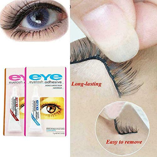 Colle à cils Strong Clear/Black Waterproof Faux Eye Adhesive Lash, Sticks Remover Colle Remover, Extensions de cils Colle Clear, Colle à cils sans latex (Bleu (colle blanche) 5PCS)