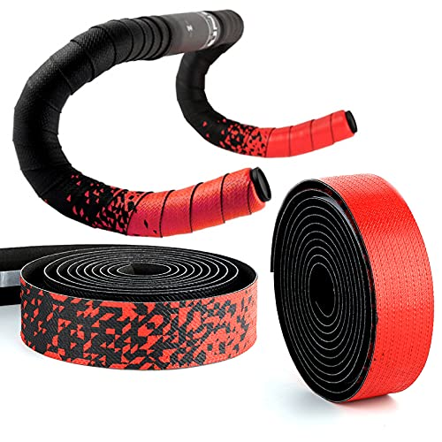 Bike Handlebar Tape,Comfortable Non-slip Damping Sweat Breathable Delicate Touch Gradient EVA Foam self-adhesive, with 2 Bar Plugs,Cycling Bar Wraps (Red)