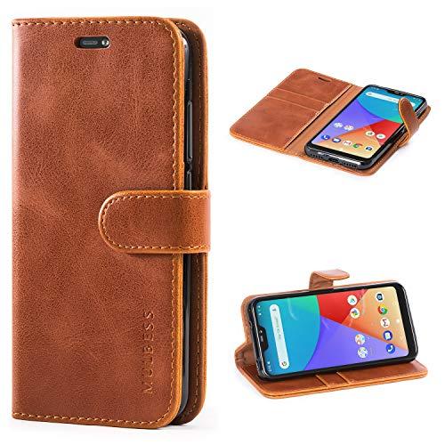 Mulbess Handyhülle für Xiaomi Mi A2 Lite Hülle Leder, Xiaomi Mi A2 Lite Handy Hüllen, Vintage Flip Handytasche Schutzhülle für Xiaomi Mi A2 Lite Hülle, Braun