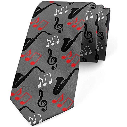 Mathillda Krawatte, Notenschlüssel Saxophon, Krawatte, grau schwarz rot perfekte Geschenke für Mode Krawatte
