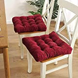 H.Slay Chair Cushion Japanese Square Seat Cushion Futon Cushion Indoor Outdoor Picnic Cushions Home and Office Cushions Chair Cushion (Color: Red, Size: 15.75' x15.75 (40x40cm))