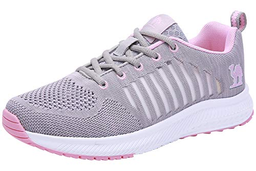 CAMEL CROWN Trail Running Shoes Women Breathable Mesh Tennis Shoes Super Lightweight Comfortable Walking Sneakers Casual Non-Slip Athletic Grey