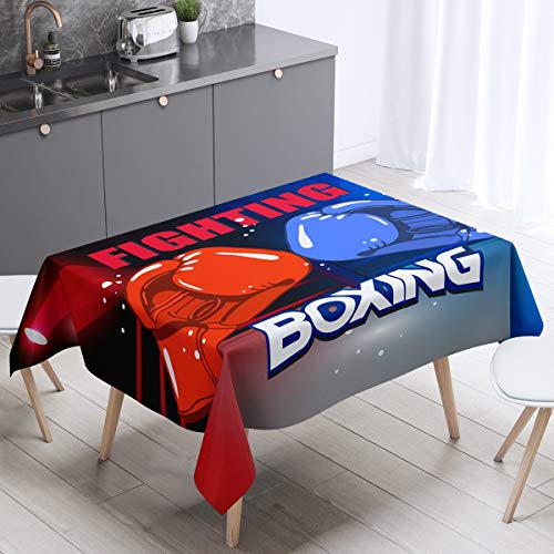 Boxing Gloves Table Cover Sports Theme Tablecloths for Dining Room Kitchen Youth Man Boxer Table Cloth Ultra Soft Decor Boxing Match Red Blue Tabletop Decorative 55x87 Inch