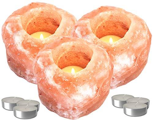 Set Portavelas de Sal del Himalaya | Porta Velas Decorativo y Relajante | 3 Piedras de Sal Rosa del Himalaya + 6 Velas de té | Peso Variable de 700 gr. a 1,2 Kg (3 Unds.)