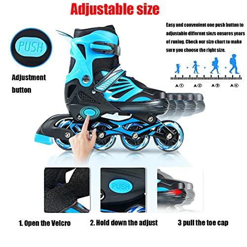 XIUWOUG Roller Skates for Adult Kids Adult Women Men,Adjustable Inline Skates 28-42,ABEC-7 Bearings 8 LED Flashing Wheels Inline Skates for Boys Girls Beginners,Blue,M(34~37)