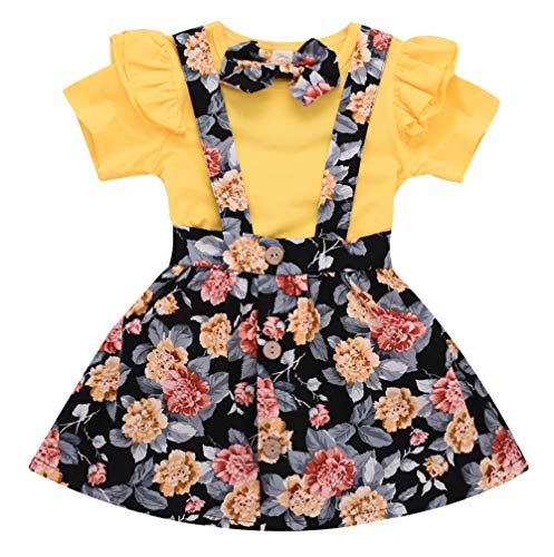 Toddler Girls Outfits 3pcs Baby Romper Clothes Set Girl Floral Jumpsuit+Strap Skirt Outfits Yellow