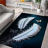 cuadros cabecero cama matrimonio Azul Alfombra de sala de estar azul plumas simples modernas suave alfombra antideslizante centro de mesa decorativo comedor 50x80cm cuadros blancos 1ft 7.7''X2ft 7.5''