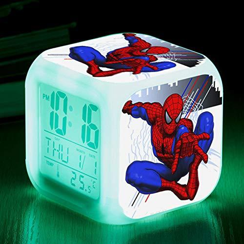 ZWJXYR Wake Up Lights USB Spiderman 7 Colors Mood Lamp Digital Clock LED Alarm Clock Lovely Cartoon Night Light Alarm Clock for Kids Gifts D