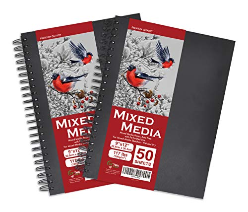 LYTek Mixed Media Paper,Hardcover Sketchbook 9x12', 117lb/190g Total 100 Sheets Acid-Free Paper, 2Pack Sketchbooks with Spiral Bound, Ideal for Pen,Colored Pencil and Light Wash Watercolor Painting