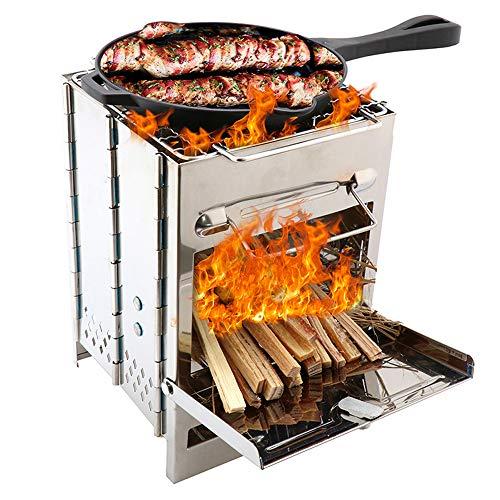 Lixada Campingkocher Edelstahl Kohlegrill Falten Holzofen Mini BBQ Grill mit Tragen Tasche für Backpacking Wandern