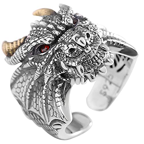 CHXISHOP Men's Dragon Ring, 925 Silver Ring, Retro Dragon Totem Amulet Ring, Hip-hop Motorcycle Index Finger Ring, Fashionable Men's Ring Opening