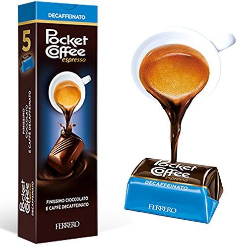 12 x POCKET COFFEE ESPRESSO DECAFFEINATO 5 CIOCCOLATINI PRALINE CAFFE' LIQUIDO
