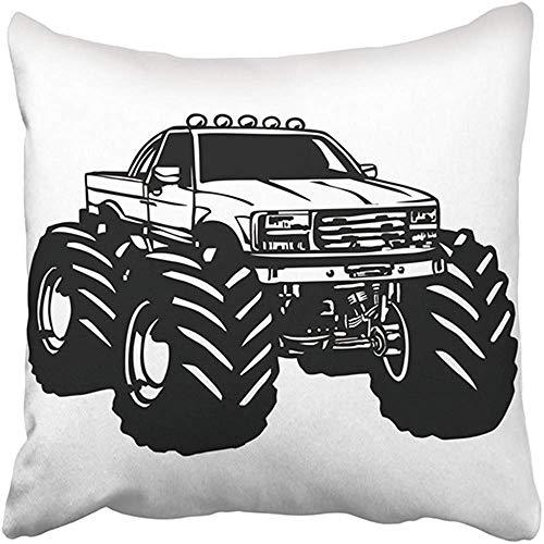 Funda de almohada decorativa de poliéster para coches de 20 x 20 pulgadas, diseño de dibujos animados de monstruos, camiones, músculos, adrenalina, americano, automoción, gran amortiguador, cojín de dos lados, funda de almohada cuadrada, impresión para el hogar