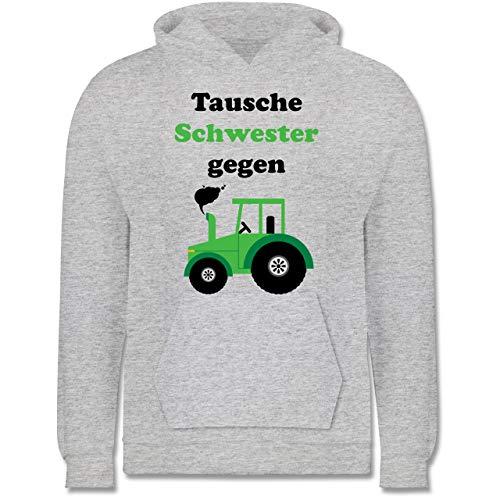 Kinder Traktor Bagger und Co. - Tausche Schwester gegen Traktor grün - 140 (9/11 Jahre) - Grau meliert - frech - JH001K JH001J Just Hoods Kids Hoodie - Kinder Hoodie
