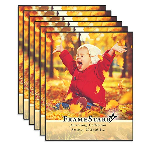 FrameStarr 8x10 Picture Frame Set (Black, 6 Pack), Front-Loading Contemporary Modern Style, Tabletop or Wall Mount, Harmony Collection