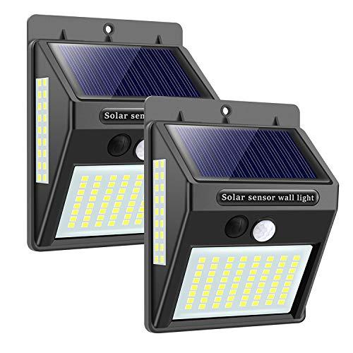Solarlampen für Außen mit Bewegungsmelder,【Hohe Qualität 100LED-1000Lumen】Solarleuchte Aussen 2200mAh Solar Wasserdichte Wandleuchte Led Solar Bewegungsmelder Aussen Solarlicht für Garten-2 Stück