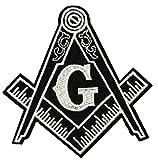 Mason Compass Symbol Logo 2.75' Embroidered Patch DIY Iron-on or Sew-on Decorative Applique Masonic Lodges Temple Shriner Freemasonry Series