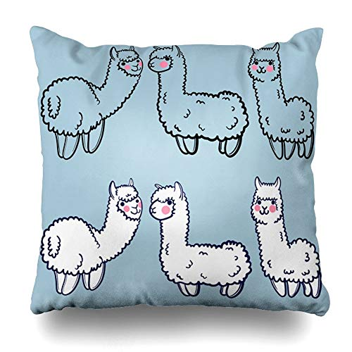 JIMSTRES Decorativepillows Case Throw Pillows Covers For Couch/Bed Cute Alpacas Child Lama From Peru Japanese Anime Home Sofa Cushion Cover Pillowcase Gift 20x20 inches