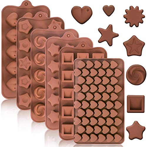 Konsait 129pcs Silicone Candy Gummy Molds, Fondant Chocolate Molds Heart Flower Shape, Baking Tray with Ice Cube Tray for Baking Mould Cake Decor for Kids Valentine Christmas Party Birthday Party