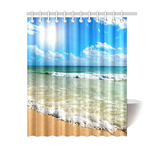 FMSHPON Summer Beach Blue Sea Palm Tree Sunshine Waterproof Polyester Fabric Shower Curtain 60 x 72 Inches