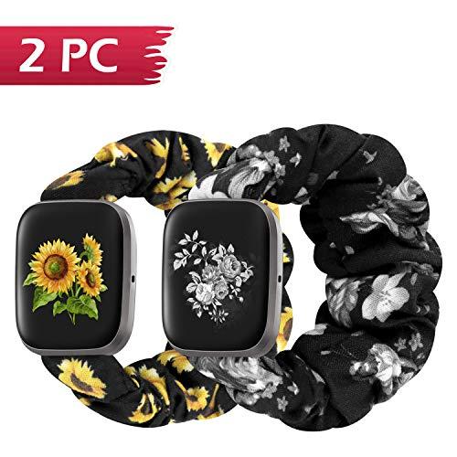 Scrunchie Bands Compatible with Fitbit Versa/Versa 2/Versa Lite/Versa SE for Women, Soft Elastic Replacement Wristband Accessories,Birthday Gifts for Women(M-Sunflower&SilverFlower)