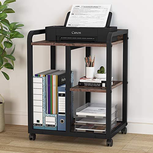 Tribesigns Mobile Printer Stand with Storage Shelves, 3-Shelf Rolling Printer Cart Under Desk, Machine Stand with Wheels for Home Office(Vintage Brown)