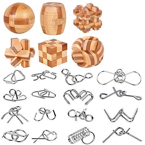 YGZN Metal Wire Puzzle Set di 16, Rompicapo in metallo Torsione Puzzle Game 3D-Perfetto Classico Giocattolo Educativo Intelligenza per Adulti e Bambini (Wooden&Metal Puzzles 22pcs)