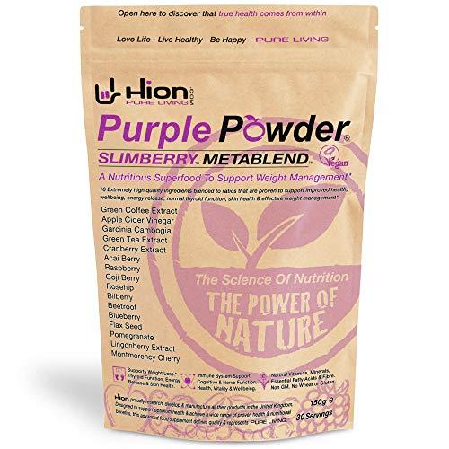 Hion Purple Powder - SLIMBERRY METABLEND | 30 Servings | Winner of 'BEST WEIGHT MANAGEMENT SUPPLEMENT' - HEALTHY AWARDS | Vegan, alkaline and gluten-free. Premium quality Superfood for weight management